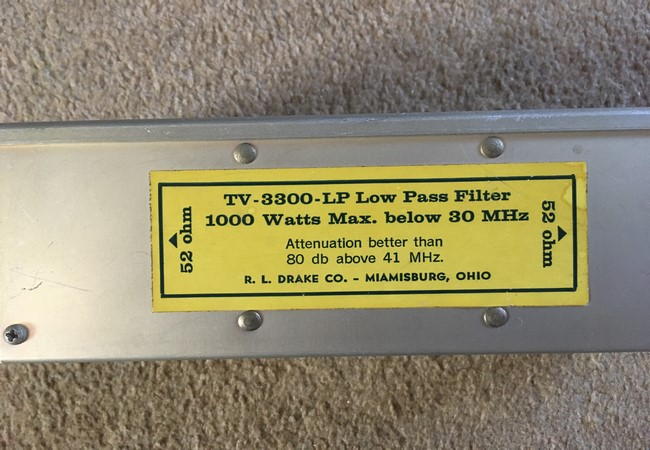 Drake TV 1000 LP Filter Ham Radio Equipment 52 ohm Low Pass